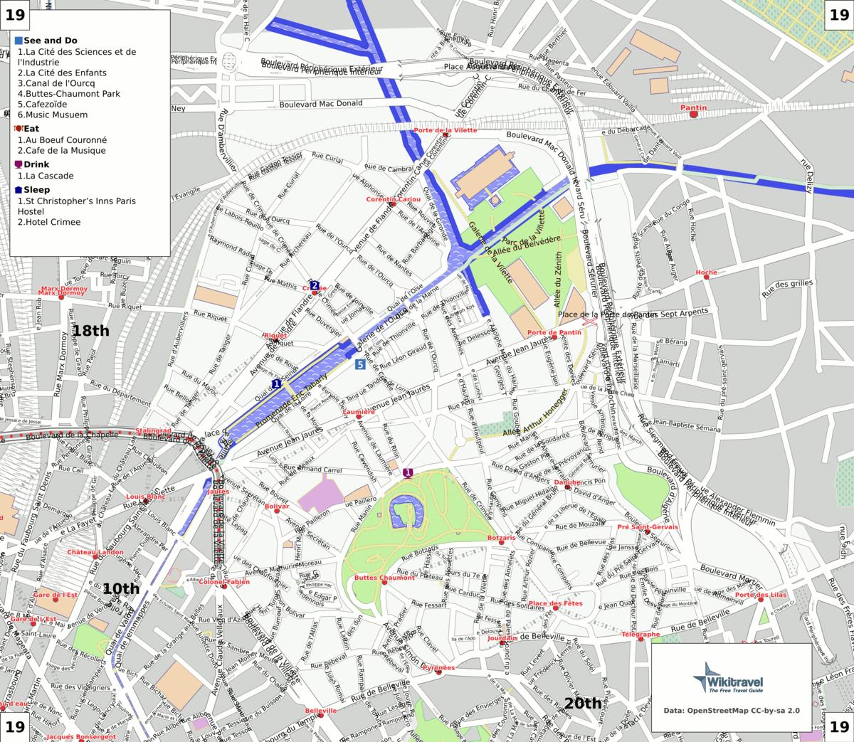 liste des voies du 19e arrondissement de paris wikip dia. Black Bedroom Furniture Sets. Home Design Ideas