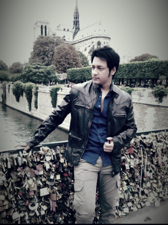 Mamnun Hasan Emon - Pont des Arts, Paris. On set of the shooting for Lal Tip