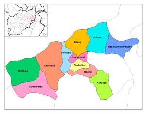 Jabal Saraj District - Image: Parvan districts