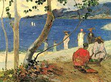 Alberi e figure sulla spiaggia, olio su tela, 46 x 61 cm, 1887, Collezione privata, Parigi