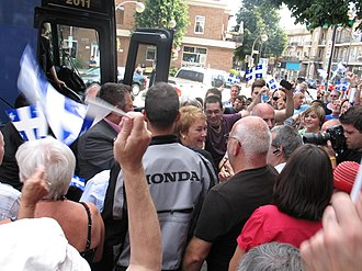 Quebec general election, 2012 - Pauline Marois on the campaign trail.