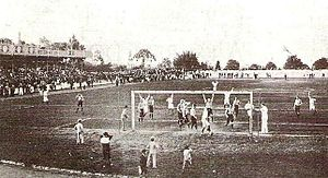 Club Athletico Paulistano - Paulistano scores a goal v. Sao Paulo AC in the final of 1905 Campeonato Paulista.