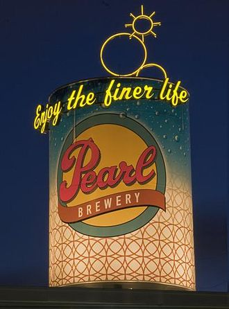 Pearl Brewing Company - Can Recycle's giant can at night