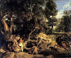 Питер Пауль Рубенс: Landscape with Boar Hunt