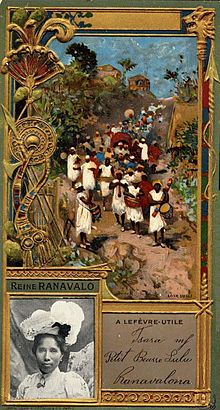 painting of Malagasy soldiers and musicians in retinue around the queen