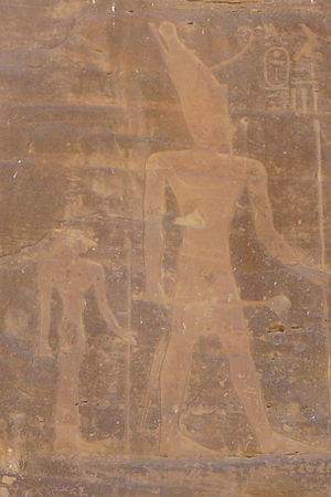 Iah (queen) - Iah (left) and her son Mentuhotep II (right) at Shatt er-Rigal.