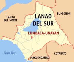 Map of Lanao del Sur with Lumbaca-Unayan highlighted