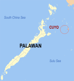 Map of Palawan with Cuyo highlighted