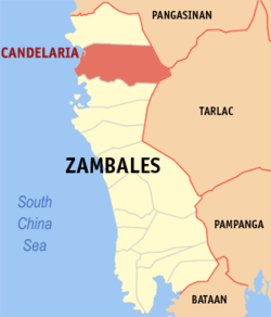 Map of Zambales showing the location of Candelaria