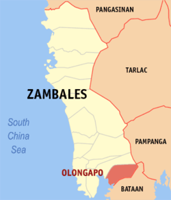Map of Zambales showing the location of Olongapo.