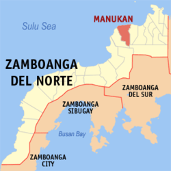 Map of Zamboanga del Norte showing the location of Municipality of Manukan.