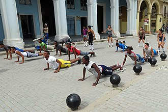 Lack of physical education - A physical education class for secondary students in Havana, Cuba.