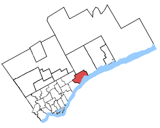 Pickering—Scarborough East - Pickering—Scarborough East in relation to other Greater Toronto ridings