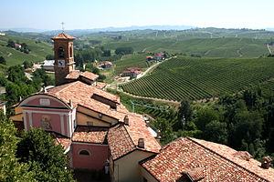 View of the Italian wine region of Piedmont wi...