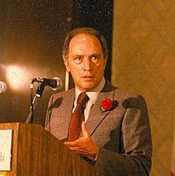 Pierre Trudeau speaking at a fundraising meeting for the Liberal Party at the Queen Elizabeth Hotel in Montréal, Québec.