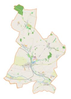 """Mapa konturowa gminy Pietrowice Wielkie, blisko centrum na dole znajduje się punkt z opisem """"Pietrowice Wielkie"""""""