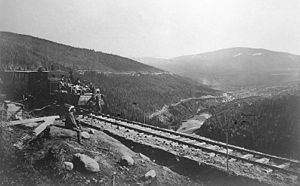 Narrow-gauge railways in Norway - Carl Abraham Pihl and his entourage inspecting the construction of the Røros Line in 1877