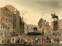 The pillory at Charing Cross in London, circa 1808.