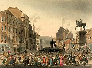 Pillory - The pillory at Charing Cross in London, c. 1808.