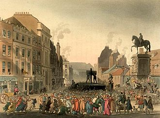 Charing Cross - The Pillory at Charing Cross. The statue of Charles I, to the right, marks the site of the eponymous Cross.