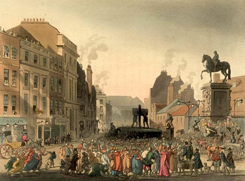The pillory at Charing Cross as drawn by Augustus Pugin and Thomas Rowlandson for Ackermann's Microcosm of London (1808-11).
