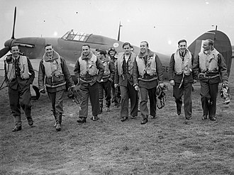 Poles in the United Kingdom - Pilots of No. 303 Polish Fighter Squadron with one of their Hurricanes, October 1940