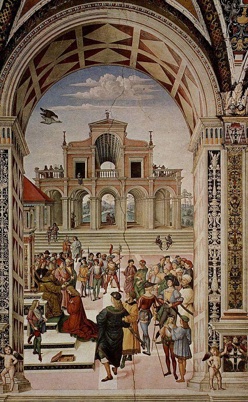 Pinturicchio, Libreria Piccolomini, Enea Silvio incoronato poeta dall'imperatore Federico III