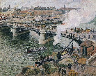 1896 in art - Pissarro – Pont Boieldieu in Rouen, Rainy Weather
