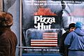 Pizza Hut sign in Moscow, Russia, just before the store opened, 1990.jpg