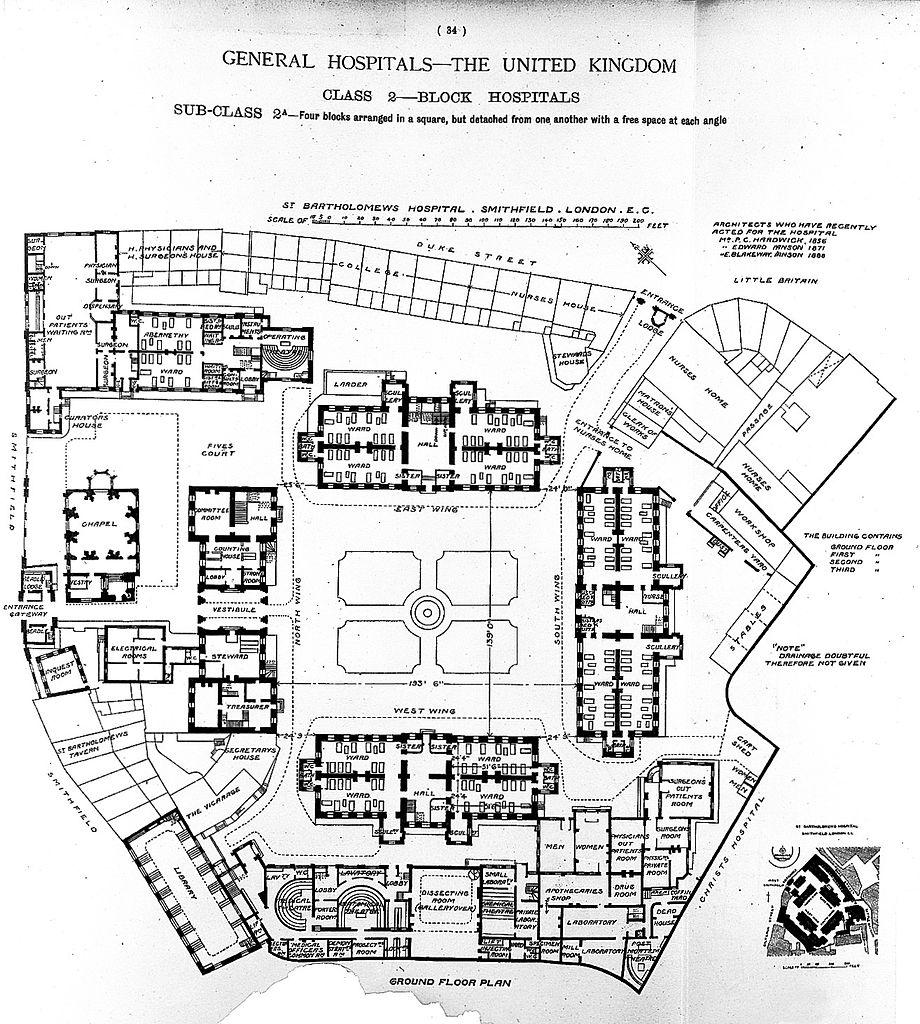 File Plan Of St Bartholomew S Hospital London 1893