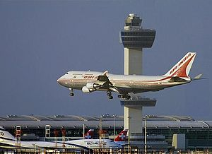 Aviation in the New York metropolitan area - An Air India Boeing 747-400 arrives at JFK, with El Al Israel and Swiss International jets at Terminal 4. JFK is the largest entry point for international arrivals to the United States.
