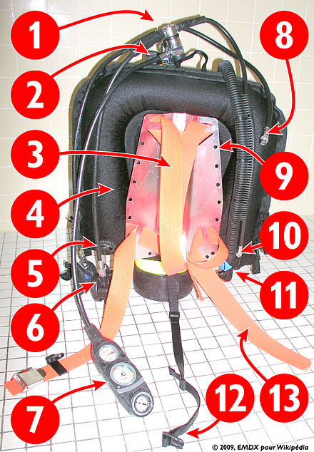 "Scuba harness with backplate and back mounted ""wing"" buoyancy compensator Regulator first stage Cylinder valve Shoulder straps Buoyancy compensator bladder Buoyancy compensator relief and lower manual dump valve DV/Regulator second stages (primary and ""octopus"") Console (submersible pressure gauge, depth gauge & compass) Dry-suit inflator hose Backplate Buoyancy compensator inflator hose and inflation valve Buoyancy compensator mouthpiece and manual dump valve Crotch strap Waist strap Plongee-StabilisateurDorsal 20090220 PlaqueLacasse.jpeg"