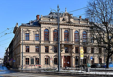The New Town Hall of Podgorze, which used to be a self-governing independent town until its incorporation into Krakow in 1915 Podgorze City Hall (new), Podgorze,Krakow,Poland.JPG