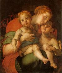 Pontormo, madonna col bambino e san giovannino, uffizi.jpg