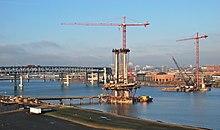 Portland-Milwaukie Light Rail Bridge towers under construction 2013-1-12.jpg