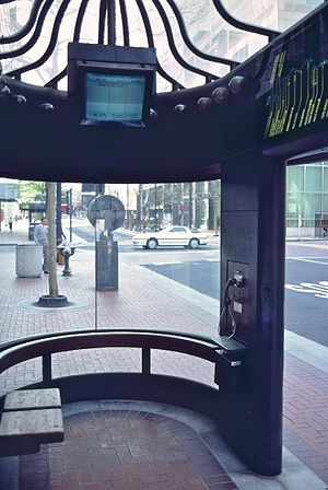Portland Transit Mall - Interior of Portland Mall shelter in 1987, with a pay phone