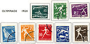 Eight Dutch stamps from 1928, showing different sports of the 1928 Summer Olympics