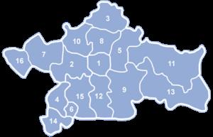 Białystok County - 1. Białystok (not part of the county). Gminas: 2. Choroszcz, 3. Czarna Białostocka, 4. Łapy, 5. Supraśl, 6. Suraż, 7. Tykocin, 8. Wasilków, 9. Zabłudów, 10. Dobrzyniewo Duże, 11. Gródek, 12. Juchnowiec Kościelny, 13. Michałowo, 14. Poświętne, 15. Turośń Kościelna, 16. Zawady.