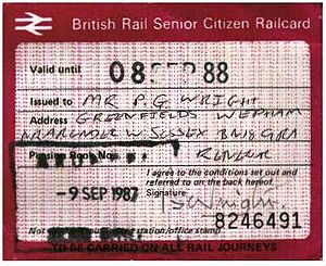 Senior Railcard - Pre-APTIS Railcard issued in 1988.