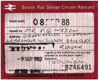 Senior Railcard - Pre-APTIS Railcard issued in 1988.