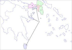 Prefectures of Greece - Division of Attica (labelled 1 in the map above): 1 Athens, 2 East Attica, 3 Piraeus, 4 West Attica.