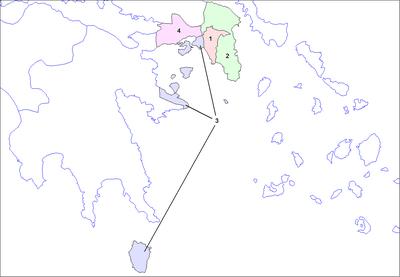 Carte des 4 nomes (ou préfectures) de la périphérie d'Attique.