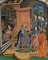 Presentation of a book to a king; the royal arms of England (France and England quarterly) in lower border; two female figures before a fire, and a kneeling figure beside a black-draped bed (f. 9r) Cropped.jpg