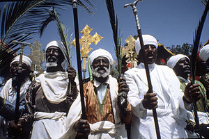 Lalibela - Ethiopian Orthodox priests holding a procession in Lalibela