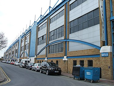 Exterior shot of Priestfield Stadium Priestfield Stadium Medway Stand.jpg
