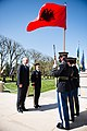 Prime Minister of the Republic of Albania lays a wreath at the Tomb of the Unknown Soldier in Arlington National Cemetery (26320249232).jpg