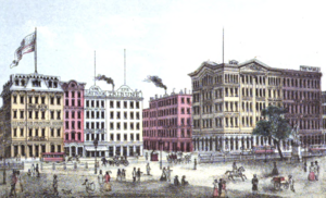 The Revolution (newspaper) -  Printing House Square in Manhattan in 1868, showing the sign for The Revolutions office at 37 Park Row at the far right below The World and above Scientific American
