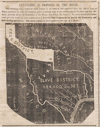 Texas annexation - A map, published in the Newark Daily Advertiser as the U.S. Senate was considering a Joint Resolution for the Annexation of Texas that had been adopted by the House of Representatives.