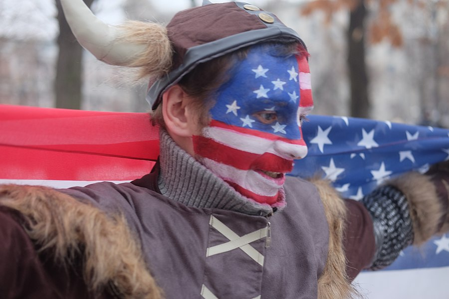 Protester in the costume (cosplaying) 2021 storming of the United States Capitol.jpg