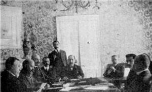 International Commission of Control - Picture of the negotiations that lead to the Protocol of Corfu between the International Commission of Control and Northern Epirote representatives.